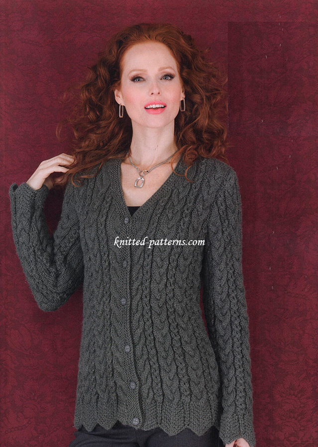 Women s Cardigan Knitting Pattern : Wavy-Edge Cardigan