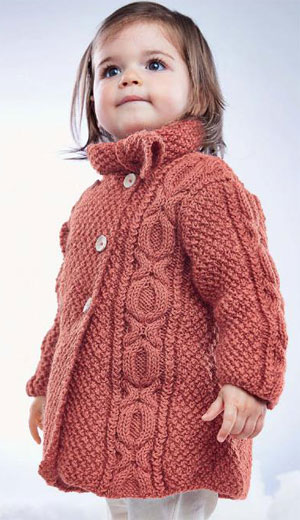 Knitting Pattern For Toddler Duffle Coat : Girls Cable Coat