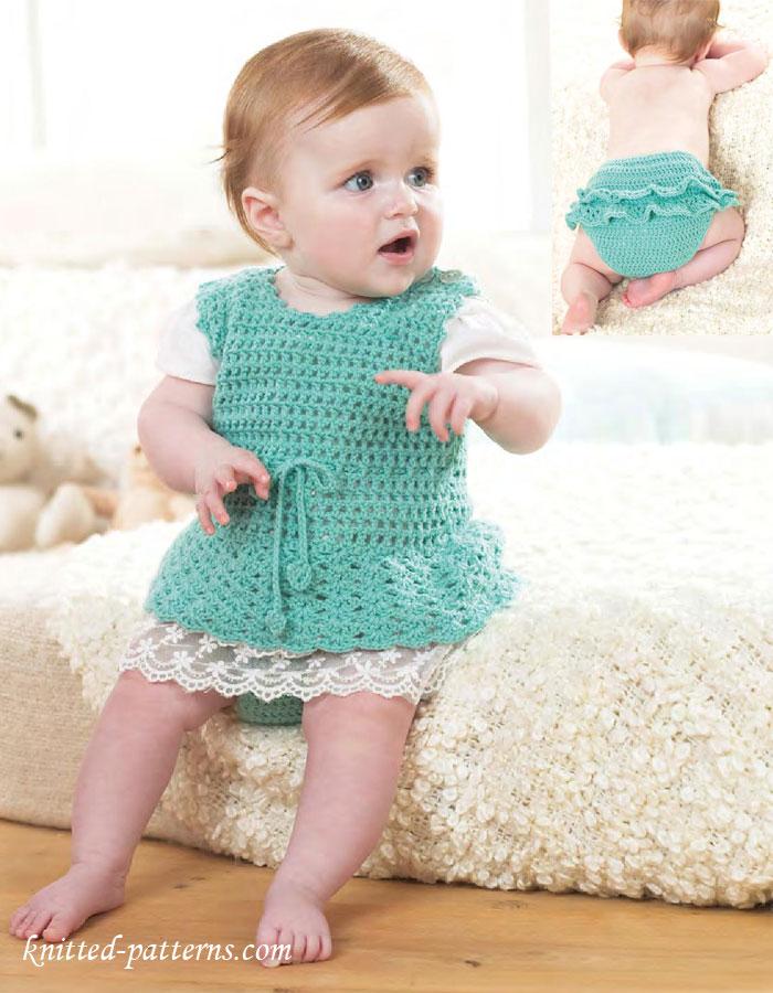 Knitted Pinafore Dress Pattern Free : Crochet Baby Set: Pinafore Dress & Pants