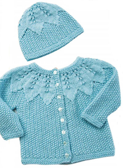Knitting Pattern For Zip Up Back Baby Sweater : Baby cardigan and hat knitting pattern free