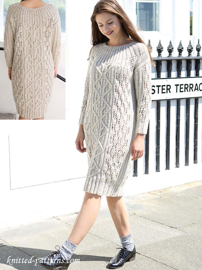 Free Knitting Pattern Ladies Dress : Cable Dress Knitting Pattern Free
