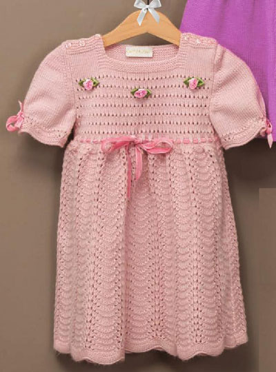 Free Knitting Patterns For Girls Dresses : Baby girl dress knitting pattern free