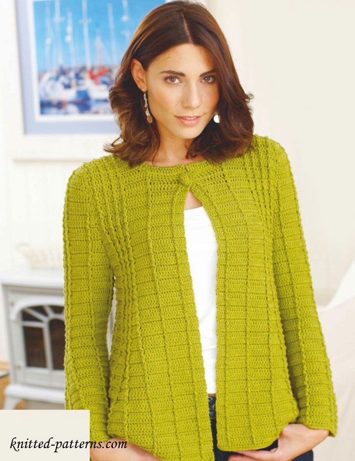 Knitting Pattern For Fitted Jacket : Fit-and-flare jacket crochet pattern free
