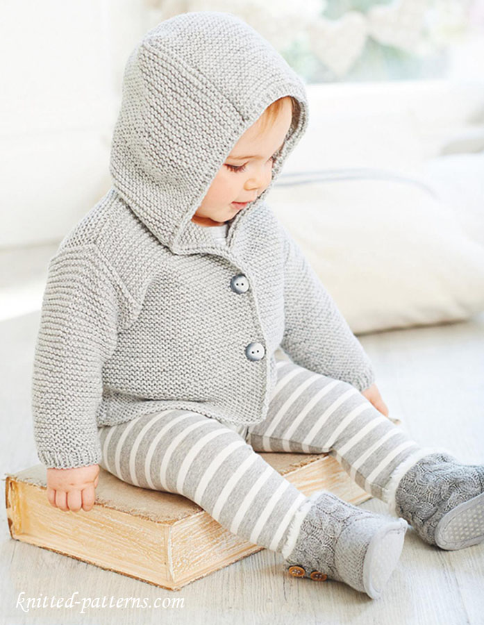 Knitting Pattern Hooded Jacket : Baby hooded jacket knitting pattern